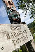 USA, Alaska,Close up view of one of Chief Kadashans' Totems on Chief Shakes Island, Wrangell Island.