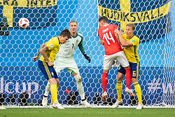 July 3, 2018 - St Petersburg, Russia - 180703 Steven Zuber of Switzerland with a chance to score against Victor Nilsson Lindelöf, goalkeeper Robin Olsen and Ludwig Augustinsson of Sweden during the FIFA World Cup round of 16 match between Sweden and Switzerland on July 3, 2018 in ST Petersburg..Photo: Petter Arvidson / BILDBYRÃ…N / kod PA / 87748 (Credit Image: © Petter Arvidson/Bildbyran via ZUMA Press)