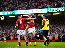 Owen Watkin of Wales celebrates<br /> <br /> Photographer Simon King/Replay Images<br /> <br /> Six Nations Round 5 - Wales v Ireland - Saturday 16th March 2019 - Principality Stadium - Cardiff<br /> <br /> World Copyright © Replay Images . All rights reserved. info@replayimages.co.uk - http://replayimages.co.uk
