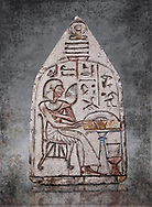 """Ancient Egyptian Ra stele , limestone, New Kingdom, 19th Dynasty, (1279-1190 BC), Deir el-Medina,  Egyptian Museum, Turin. <br /> <br /> Akh iqer en Ra """" the excellent spirit of Ra' stele. The individual is smelling a lotus flower. One of three stele forund in different rooms of houses in Deir el-Medina where they stood in niches. .<br /> <br /> Visit our HISTORIC WALL ART PRINT COLLECTIONS for more photo prints https://funkystock.photoshelter.com/gallery-collection/Historic-Antiquities-Photo-Wall-Art-Prints-by-Photographer-Paul-E-Williams/C00002uapXzaCx7Y<br /> <br /> Visit our Museum ART & ANTIQUITIES COLLECTIONS to browse more photo at: https://funkystock.photoshelter.com/p/museum-antiquities"""