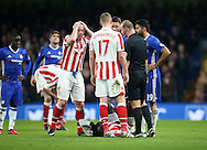 Stoke's Charlie Adam looks on in disbelief after a decision by referee Bobby Madley during the Premier League match at Stamford Bridge Stadium, London. Picture date December 31st, 2016 Pic David Klein/Sportimage