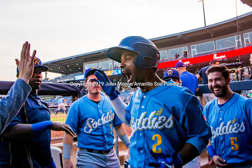 Amarillo Sod Poodles infielder Ivan Castillo (2) after hitting a home run against the Tulsa Drillers during the Texas League Championship on Saturday, Sept. 14, 2019, at OneOK Field in Tulsa, Oklahoma. [Photo by John Moore/Amarillo Sod Poodles]