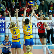 Vakifbank GS TT's Jelena NIKOLIC (R) during their Women's Volleyball CEV Champions League semi final match at Burhan Felek Arena in Istanbul, Turkey on 20 March 2011. Photo by TURKPIX