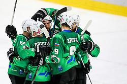 Players of HK SZ Olimpija celebrate during ice hockey match between HK SZ Olimpija Ljubljana and HC Orli Znojmo in bet-at-home ICE Hockey League, on October 17, 2021 in Hala Tivoli, Ljubljana, Slovenia. Photo by Morgen Kristan / Sportida
