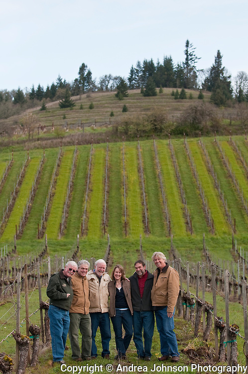 Oregon Winemakers known as the 'crawlers' left to right:  Ted Casteel, Bethel Heights; Ken Wright, Terry Casteel, Bethel Heights; Lynn Penner-Ash, Laurant Montalieu, Solena, and Steve Doerner, Cristom