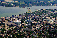 Downtown Madison with Lake Monona (left)  & Monona Bay (right)