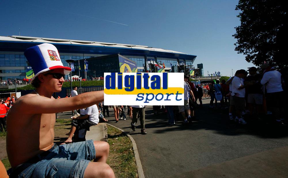 Photo: Steve Bond.<br /> USA v Czech Republic. Group E, FIFA World Cup 2006. 12/06/2006.<br /> Czech fans enjoy the sun and make a noise at Gelsenkirchen Stadium before their game with USA.
