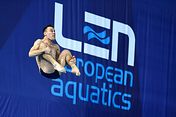 Ukraine's Oley Kolodiy during the Men's 1m Springboard Preliminary during day six of the 2018 European Championships at Scotstoun Sports Campus, Glasgow. PRESS ASSOCIATION Photo. Picture date: Tuesday August 7, 2018. See PA story DIVING European. Photo credit should read: Ian Rutherford/PA Wire. RESTRICTIONS: Editorial use only, no commercial use without prior permission