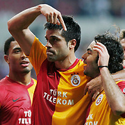 Galatasaray's Gokhan ZAN (C) celebrate his goal with team mate during their Turkish Super League soccer match Galatasaray between Eskisehirspor at the TT Arena at Seyrantepe in Istanbul Turkey on Monday, 26 September 2011. Photo by TURKPIX