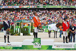 Podium Individual Jumping 1. Jeroen Dubbeldam and Zenith SFN World Champion, 2. Patrice Delaveau and Orient Express HDC, 3. Beezie Madden and Cortes C - Show Jumping Final Four - Alltech FEI World Equestrian Games™ 2014 - Normandy, France.<br /> © Hippo Foto Team - Leanjo de Koster<br /> 07-09-14