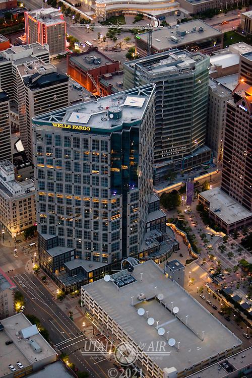 Wells Fargo Building in Salt Lake City at dusk