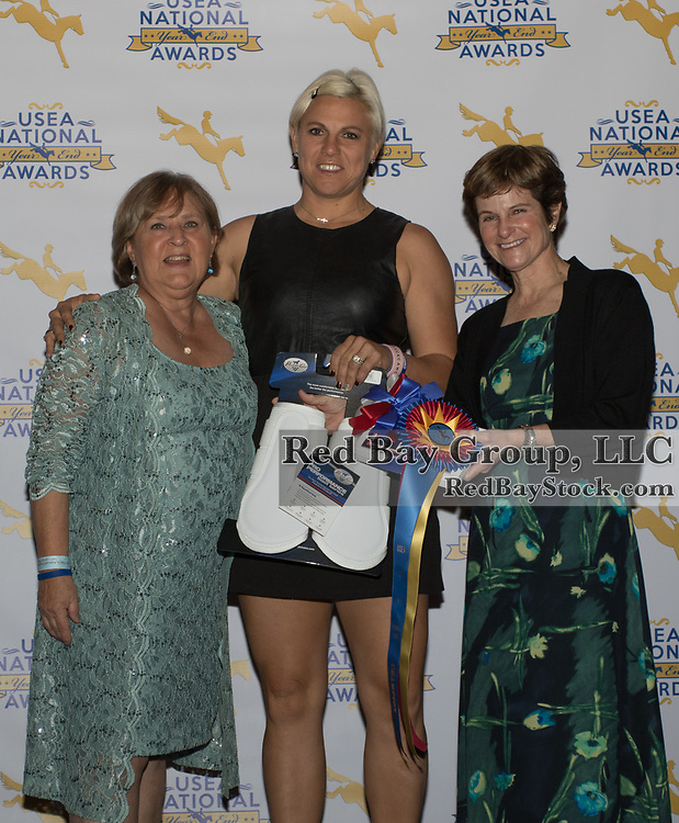 Diane Pitts, Heather Morris and Carol Kozlowski at the USEA Awards Dinner during the 2016 United States Eventing Association Annual Convention in Fort Lauderdale, Florida.