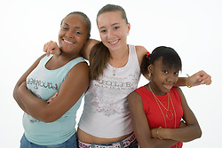 Group of teenaged girls smiling,