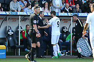 Paul Clement, the Swansea city manager looks on as he substitutes Fernando Llorente of Swansea city. Premier league match, Swansea city v Stoke City at the Liberty Stadium in Swansea, South Wales on Saturday 22nd April 2017.<br /> pic by Andrew Orchard, Andrew Orchard sports photography.