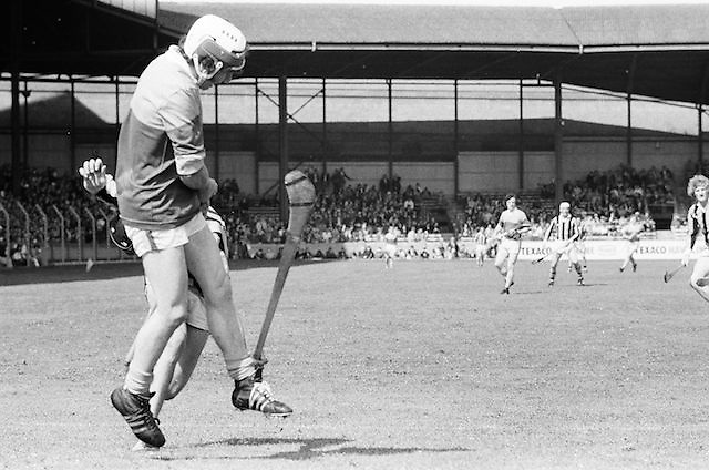Kilkenny tackles Wexford from the side during the All Ireland Senior Leinster Hurling Final Kilkenny v Wexford at Croke Park on the 24th of July 1977. Wexford 3-17 Kilkenny 3-14.