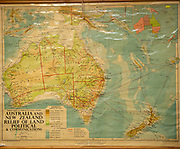Old vintage school classroom wall map chart of Australia, New Zealand and Pacific Ocean islands