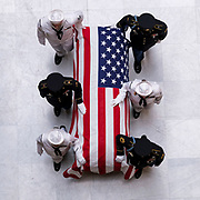 A military honor guard escorts the casket of Sen. Richard Lugar into the Indiana Statehouse in Indianapolis, Tuesday, May 14, 2019. Lugar passed away on April 28th at the age of 87.
