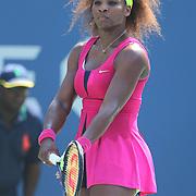 Serena Williams, USA, in action against Ekaterina Makarova, Russia,  during the US Open Tennis Tournament, Flushing, New York. USA. 1st September 2012. Photo Tim Clayton