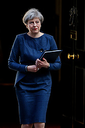 © Licensed to London News Pictures. 18/04/2017. London, UK. British Prime Minister THERESA MAY calls for an early election outside Number 10, Downing Street on 18, April 2017. Photo credit: Tolga Akmen/LNP