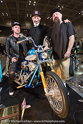 Jeff Holt with Charlie Stockwell and Matthew Hegarty after giving them his award at the 26th Annual Yokohama Hot Rod and Custom Show 2017. Yokohama, Japan. Sunday December 3, 2017. Photography ©2017 Michael Lichter.