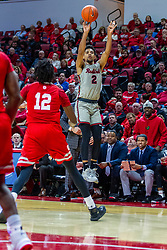 NORMAL, IL - February 26: Zach Copeland takes a three point shot from near the Braves bench during a college basketball game between the ISU Redbirds and the Bradley Braves on February 26 2020 at Redbird Arena in Normal, IL. (Photo by Alan Look)
