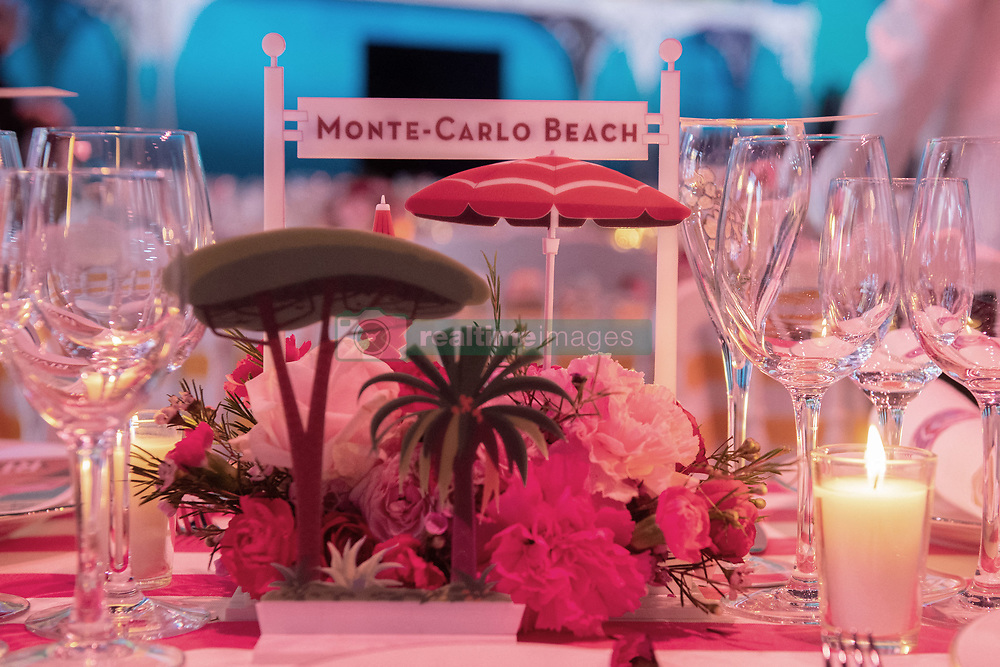 General view of a booklet designed by late German designer Karl Lagerfeld ahead of the Bal de la Rose in Monaco, March 30, 2019 at Sporting in Monaco, Monaco on March 30, 2019. Photo by Stephane Cardinale-Pool/ABACAPRESS.COM