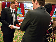 14 FEBRUARY 2011 - PHOENIX, AZ:  US Congressman JEFF FLAKE (left) talks to his staff before announcing that he is running for the US Senate seat being vacated by retiring US Sen. Jon Kyl before Flake's press conference in Phoenix, Monday, Feb.14. Congressman Flake has been in the US House of Representatives since 2001. He is considered a conservative Republican but supports loosening sanctions against Cuba and some form of comprehensive immigration reform. He represents a conservative neighborhood in Mesa, AZ, a suburb of Phoenix.   Photo by Jack Kurtz