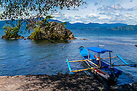 Indonesia, Sumatra. Samosir. Looking east, with Parapat in the background.