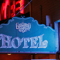 USA, California, San Diego. Market Street Gaslamp Quarter Hotel sign.