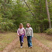 9 year old friends on the road at Appleton Farms & Grass Rides, Ipswich, MA