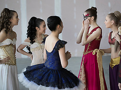 © Licensed to London News Pictures. 21/03/2017. London, UK. Performers prepare their costumes in The Central School of Ballet's newly announced building in central London. The dancers wear costumes from their forthcoming nationwide Ballet Central tour 2017 against the backdrop of the unfinished interior of the new premises. Photo credit: Peter Macdiarmid/LNP
