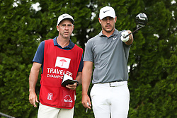 June 22, 2018 - Cromwell, Connecticut, United States - Brooks Koepka (R) and his caddie chat on the 9th tee during the second round of the Travelers Championship at TPC River Highlands. (Credit Image: © Debby Wong via ZUMA Wire)