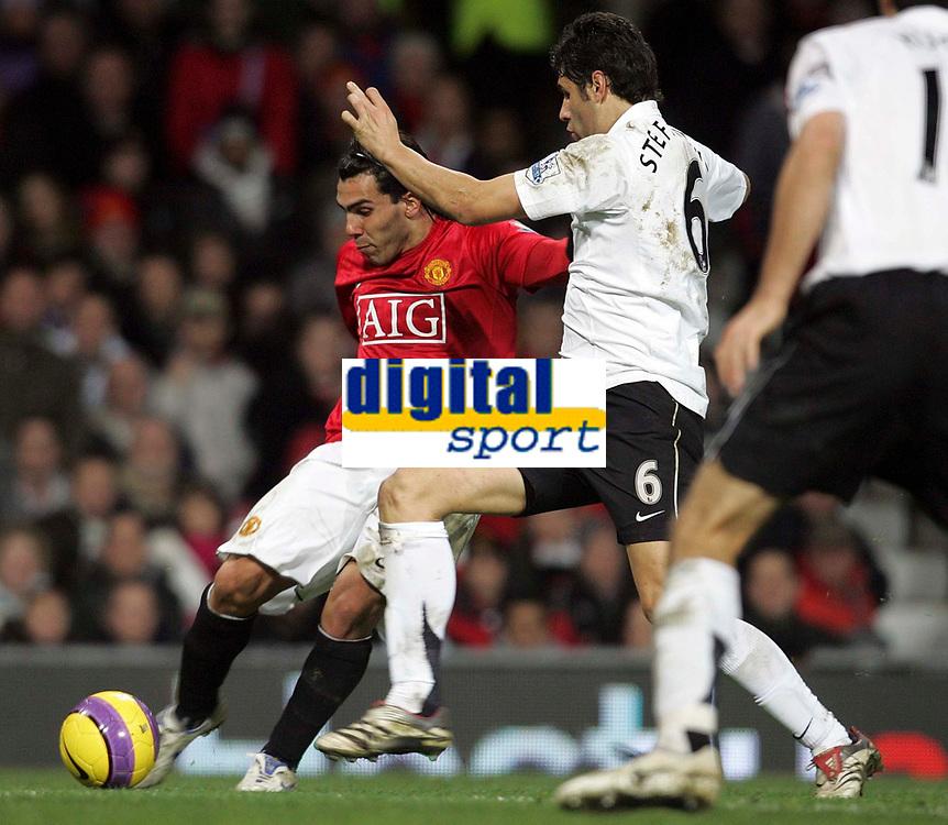 Photo: Paul Thomas/Sportsbeat Images.<br /> Manchester United v Fulham. The FA Barclays Premiership. 03/12/2007.<br /> <br /> Carlos Tevez (L) of Utd shoots past Dejan Stefanovic.