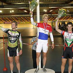 ALKMAAR (NED) wielrennen<br />NK Baanwielrennen ; mannen 2004<br />Theo Bos, Teun Mulder, Tim Veldt