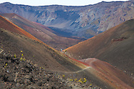 The trail leading through an area known as Pele's Paintpot due to the colorful lava rock in Haleakala National Park on the island of Maui, Hawaii, USA