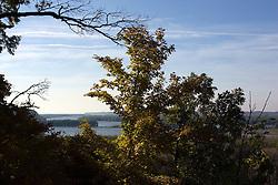 October 2009: View of the Savannah bridge over the Mississippi River from an outlook in the Mississippi Palisades State Park. Sights to see in and around Galena Illinois.