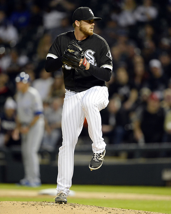 CHICAGO - APRIL 25:  Dylan Covey #68 of the Chicago White Sox pitches against the Kansas City Royals on April 25, 2017 at Guaranteed Rate Field in Chicago, Illinois.  The White Sox defeated the Royals 10-5.  (Photo by Ron Vesely)   Subject:  Dylan Covey