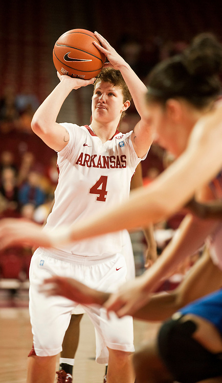 Jan 29, 2012; Fayetteville, AR, USA; Arkansas Razorbacks center Sarah Watkins (4) takes a free throw shot during a game against the Florida Gators at Bud Walton Arena. Arkansas defeated Florida 73-72 in the second overtime. Mandatory Credit: Beth Hall-US PRESSWIRE