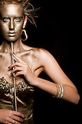Woman in golden mask
