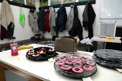 Cupcakes in the changing room of Sutton United during the training session at Gander Green Lane, London.