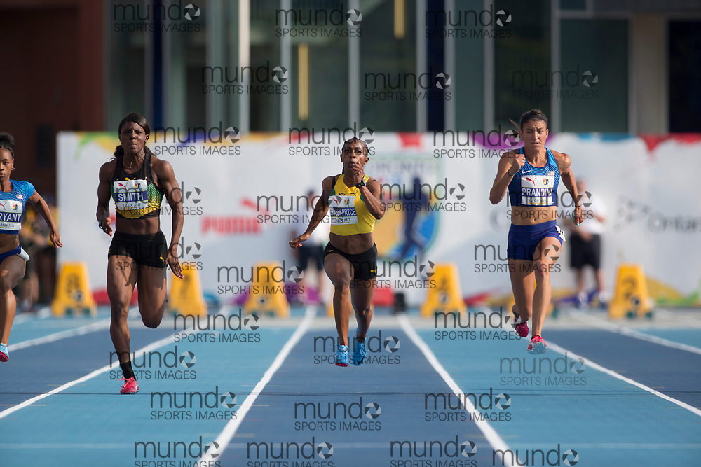 Toronto, ON -- 11 August 2018: Left to right Jonielle Smith (Jamaica -- silver), Shelly-Ann Fraser-Pryce (Jamaica -- fifth), Jenna Prandini (USA -- Gold), 100m final at the 2018 North America, Central America, and Caribbean Athletics Association (NACAC) Track and Field Championships held at Varsity Stadium, Toronto, Canada. (Photo by Sean Burges / Mundo Sport Images).