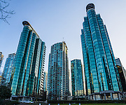 Coal Harbour waterfront buildings, Vancouver Harbour, Vancouver, British Columbia, Canada. This panorama was stitched from 2 overlapping images.
