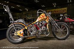 Custom Harley-Davidson Knucklehead chopper at the 27th Annual Mooneyes Yokohama Hot Rod Custom Show 2018. Yokohama, Japan. Saturday, December 1, 2018. Photography ©2018 Michael Lichter.
