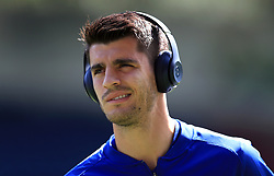 Chelsea's Alvaro Morata inspects the pitch before the match at the John Smith's Stadium, Huddersfield.