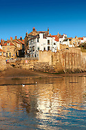 Beach & slipway of historic fishing village of Robin Hood's Bay, Near Whitby, North Yorkshire, England. .<br /> <br /> Visit our ENGLAND PHOTO COLLECTIONS for more photos to download or buy as wall art prints https://funkystock.photoshelter.com/gallery-collection/Pictures-Images-of-England-Photos-of-English-Historic-Landmark-Sites/C0000SnAAiGINuEQ