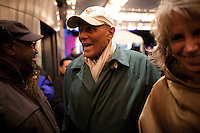 Harry Belafonte arrives to see Bruce Springsteen and the E Street Band perform at the Apollo in New York...Photo by Robert Caplin.