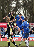 Photo: Mark Stephenson.<br /> Chasetown v Cardiff City. FA Cup Third Round. 05/01/2008<br /> Cardiff's Roger Johnson. wins the ball