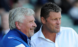 Yeovil Town's Manager Paul Sturrock and Bristol City's Manager Steve Cotterill chat- Photo mandatory by-line: Harry Trump/JMP - Mobile: 07966 386802 - 30/07/15 - SPORT - FOOTBALL - Pre Season Fixture - Yeovil Town v Bristol City - Huish Park, Yeovil, England.