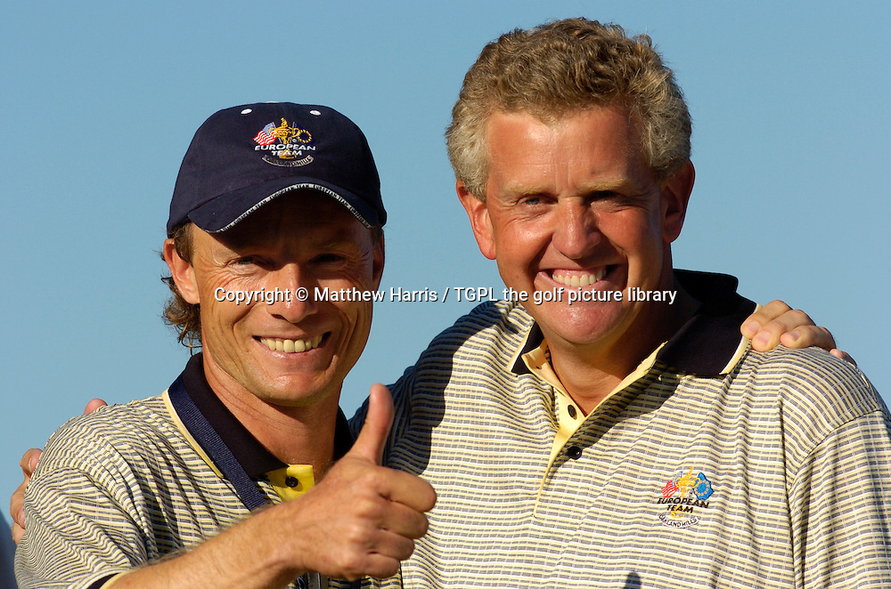 Thunbs up from Winning captain Bernhard LANGER (EUR) celebrates a sweet victory over team USA 18.5 points to 9.5 with hero Colin MONTGOMERIE (EUR) during final day Singles of the Ryder Cup Matches 2004,Oakland Hills (South Course),Bloomfield,Michigan,USA.
