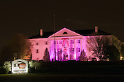 """KFC's """"White House"""" global headquarters """"goes pink"""" Friday, April 9, 2010 in Louisville, Ky., as part of a brand-wide color makeover to help launch their Buckets For a Cure(TM) campaign, aimed at raising both money and awareness for breast cancer. (Photo by Brian Bohannon)."""